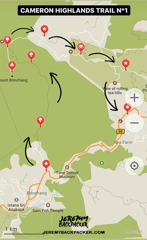 randonnee-trail-1-cameron-highlands-carte