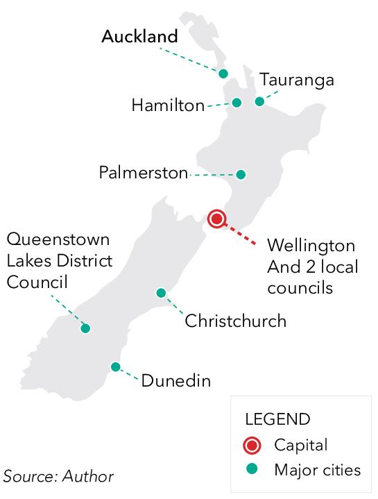 villes et capitale carte nouvelle zelande