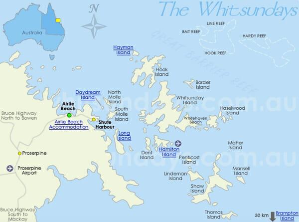 carte iles whitsundays australie