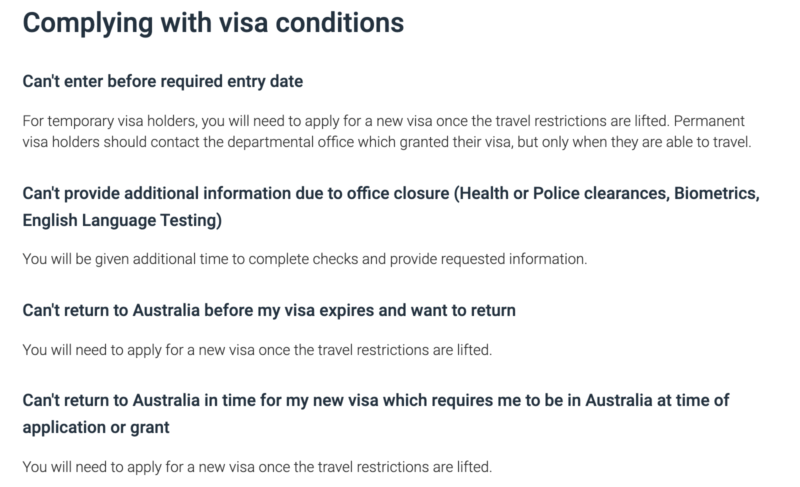 conditions visa australie coronavirus