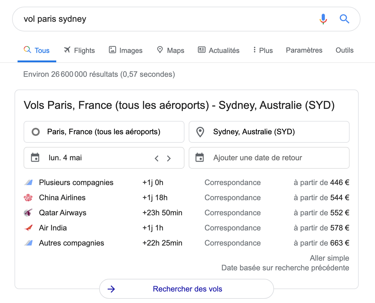 vol whv australie google comparateur