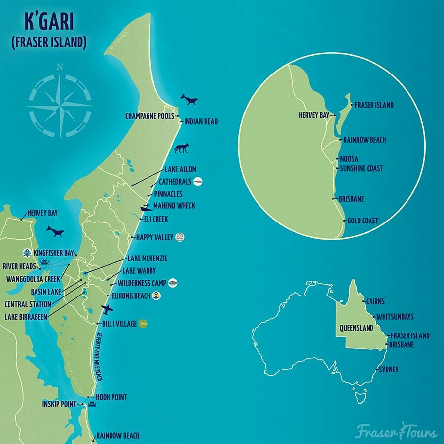 carte endroits fraser island guide