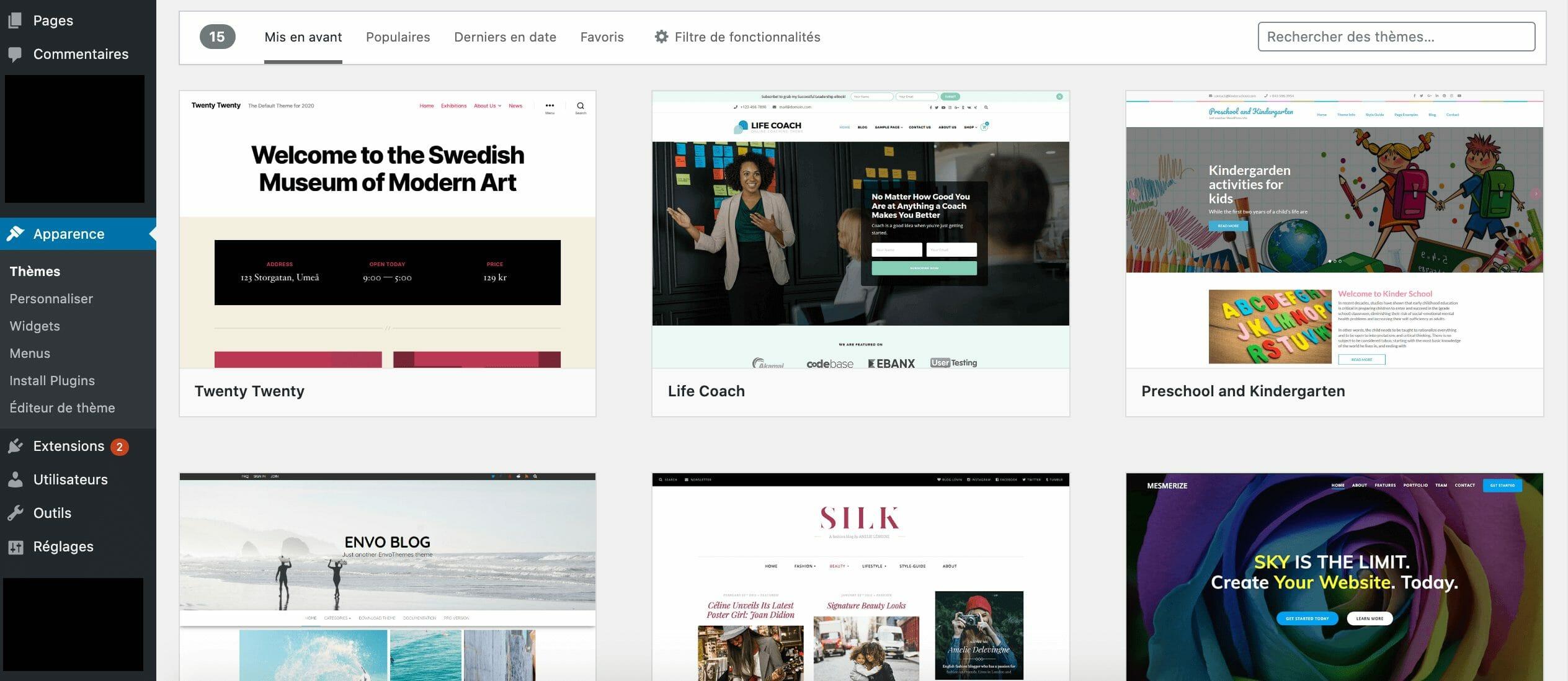 creer un blog de voyage installer themes wordpress