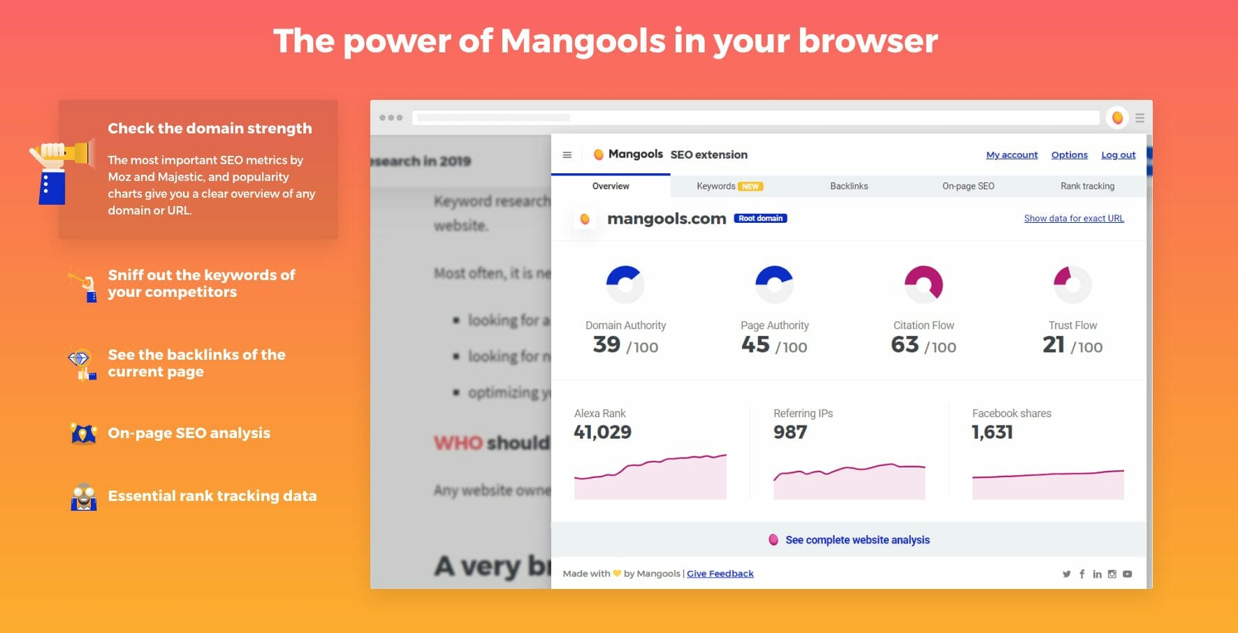 aperçu extension mangools