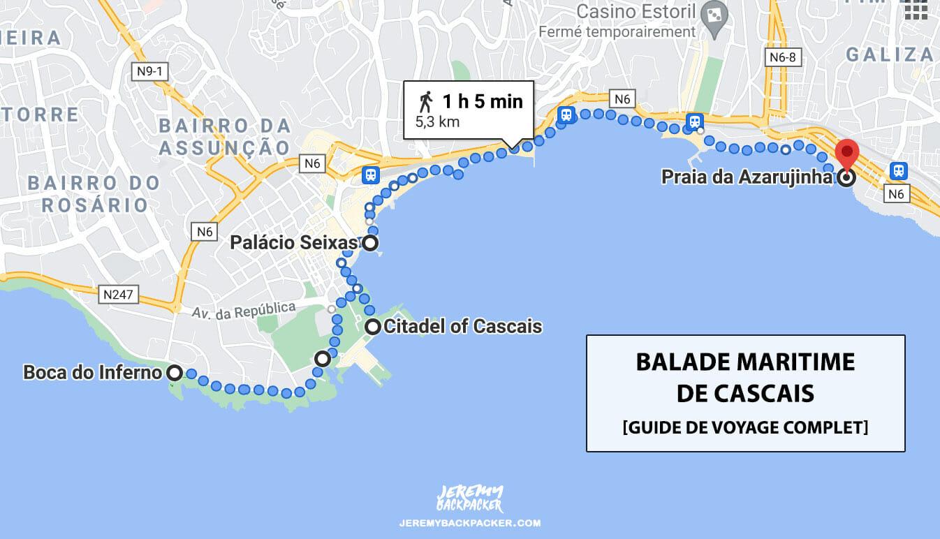 carte balade maritime cascais portugal